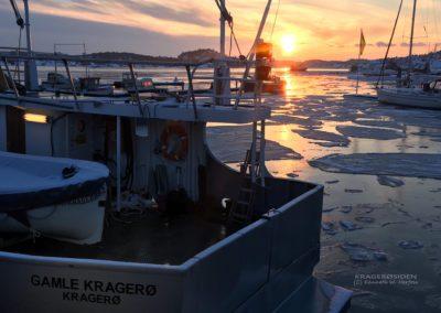 Havnebassenget i Kragerø vinterstid
